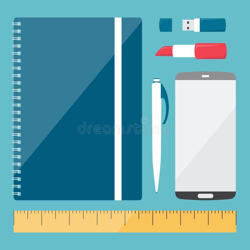 Gesetzte Illustration des Briefpapiers für Blog des Verfassers oder des Fotografen, Design für Mädchen Vektorgraphik in der Gesch lizenzfreie abbildung