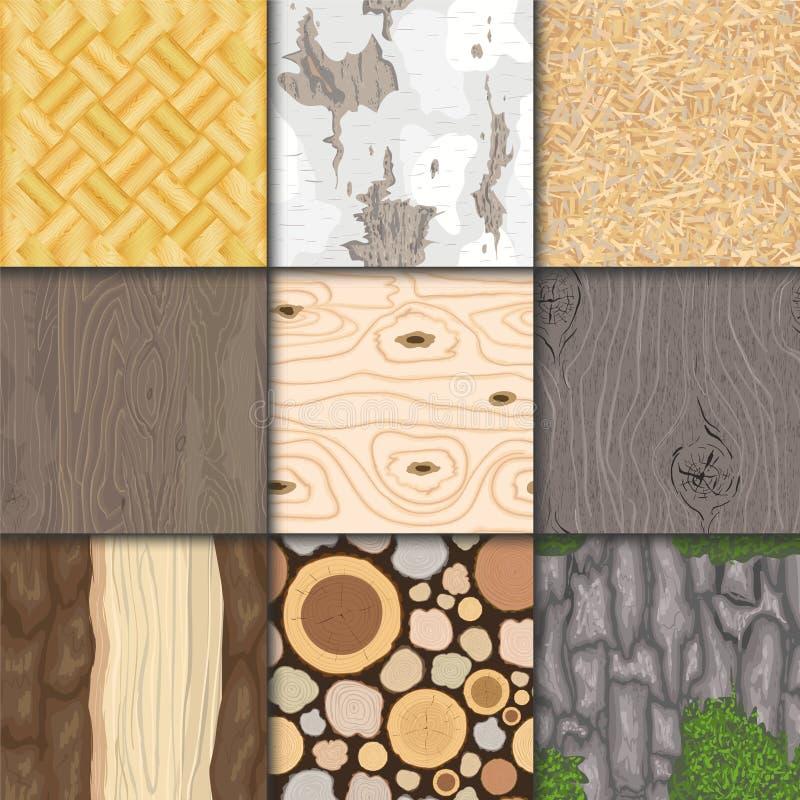 Gesetzte Illustration des hölzernen des Beschaffenheitsvektors des Hintergrundes hölzernen nahtlosen des Musters natürlichen Hint stock abbildung