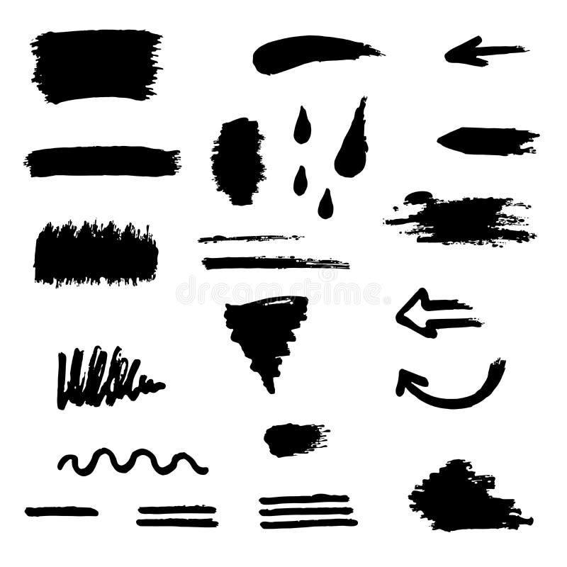Gesetzte Illustration des schwarzen Bürstenanschlags stock abbildung