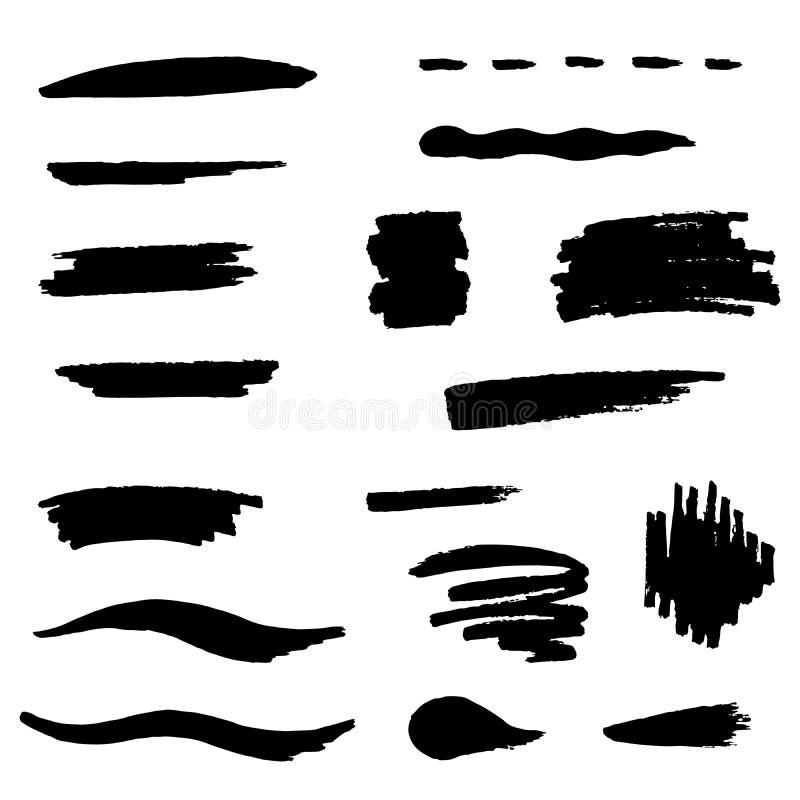 Gesetzte Illustration des schwarzen Bürstenanschlags vektor abbildung