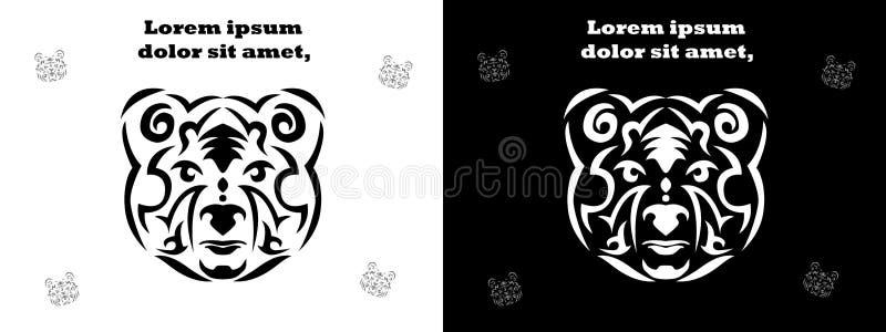 Gesetzte Illustration des Stammes- Bären, Braunbär in der Stammes- Art, dekorative weiße Linie Bär Tiertätowierungsschattenbild vektor abbildung