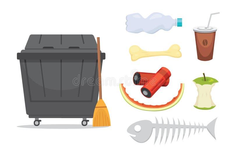 Gesetzte Illustrationen des Abfalls und des Abfalls in der Karikaturart Biologisch abbaubare, Plastik- und Müllcontainerikonen stock abbildung