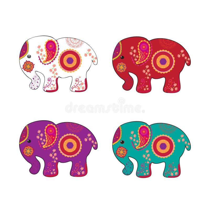 Gesetzte indische ethnische traditionelle Kunst des Elefantvektors lizenzfreie abbildung