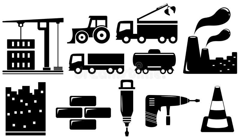 Gesetzte industrielle Gegenstände und Werkzeuge lizenzfreie abbildung