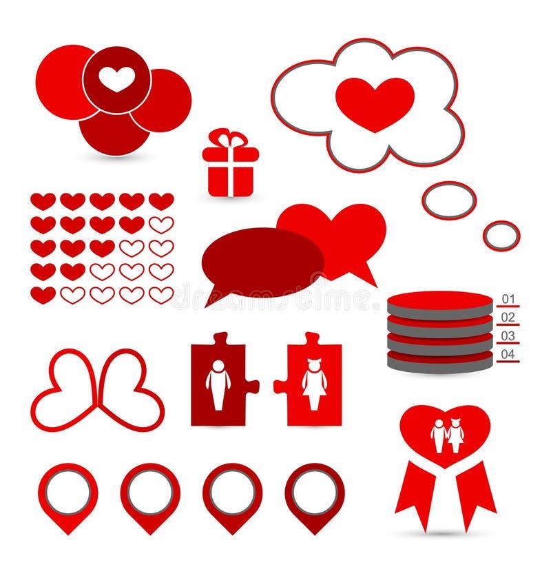 Gesetzte infographic Elemente der Valentinsgrußdarstellung vektor abbildung