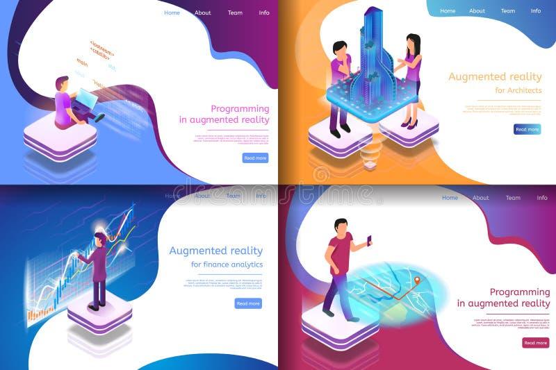 Gesetzte isometrische Illustrations-virtuelle Unterhaltung lizenzfreie abbildung