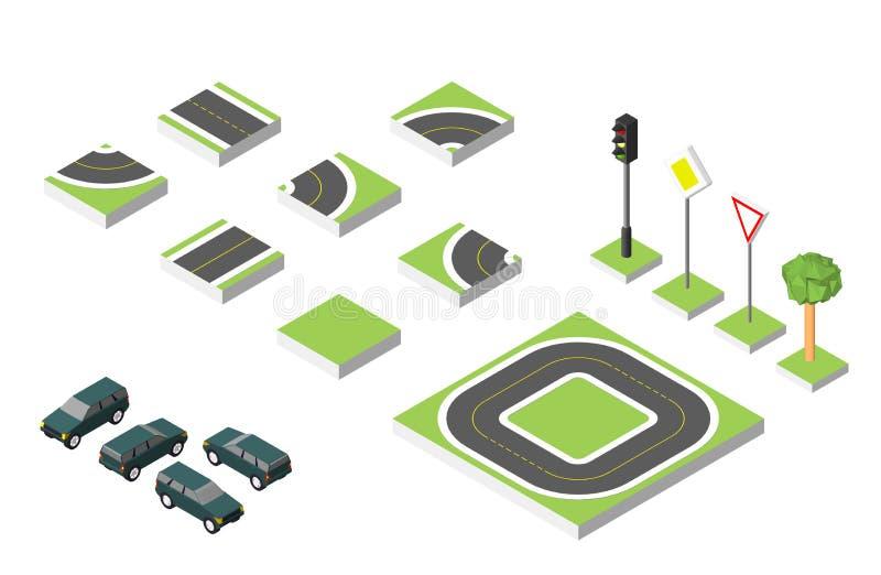 Gesetzte isometrische Straße und Vektor-Autos, allgemeiner Straßenverkehr regelnd Vektorillustration ENV 10 auf Weiß stock abbildung