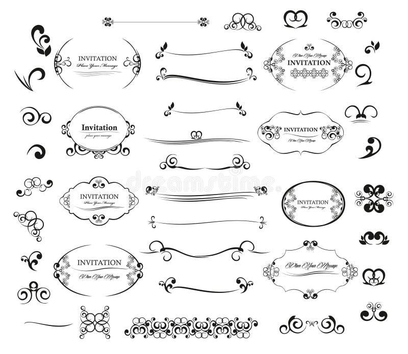 Gesetzte kalligraphische Gestaltungselemente Einladung des großen Vektors und Seitendekoration vektor abbildung