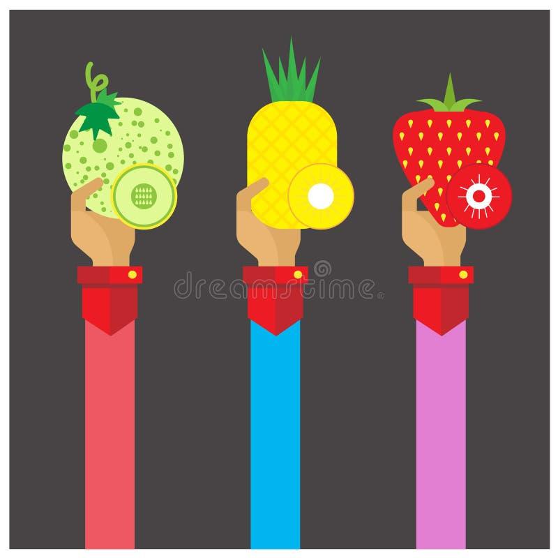 Gesetzte Kantalupe Frucht des Vektors, Ananas, Erdbeerikonenhand und Arm lizenzfreie abbildung