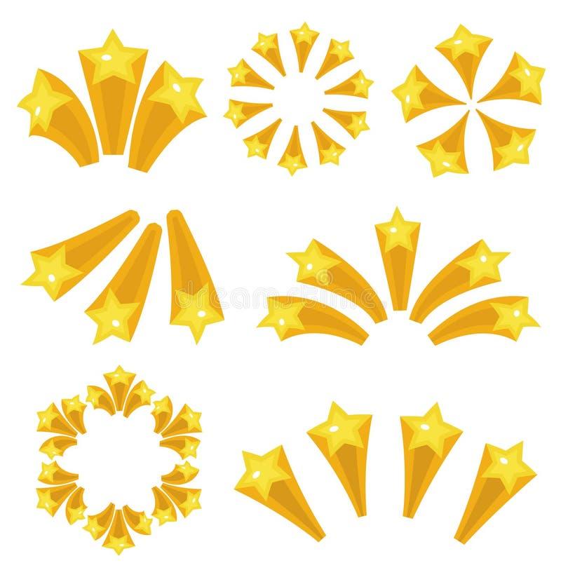 Gesetzte Karikaturart der Sternexplosionsikone Gelbe Sternexplosionsfeuerwerke, blitzen auf weißem Hintergrund lokalisiert Vektor vektor abbildung