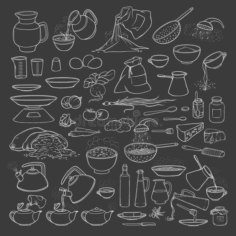Gesetzte Kreide der Vektorskizzensammlung auf TafelNahrungsmitteln, Getränken und Küchengeräten Gebräutee und -kaffee stock abbildung