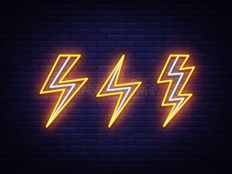 Gesetzte Leuchtreklamen des Blitzbolzens Nett, als Teil Ihrer Auslegung zu verwenden Hochspannungsneonsymbol, helles Fahnengestal lizenzfreie abbildung