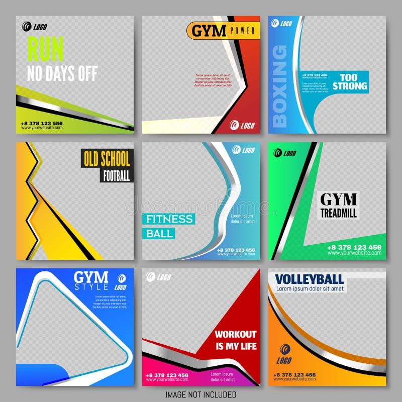 Gesetzte Minimalistic-Quadrat-Schablonen Sportthema stock abbildung