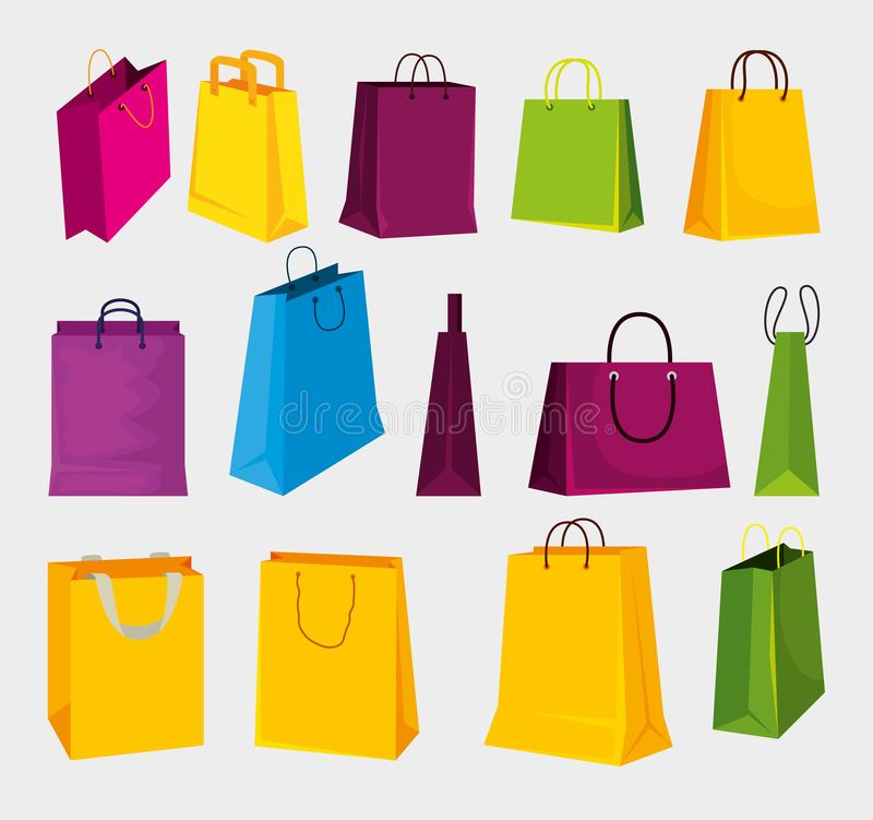 Gesetzte Modeverkaufstaschen zum Einkauf im Markt stock abbildung