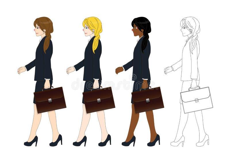 Gesetzte nette Geschäftsfrau, die eine Aktentasche beim Gehen hält Weicher Fokus Volle Körper-Vektor-Illustration stock abbildung