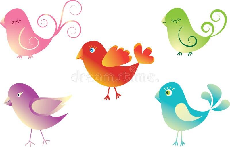 Gesetzte nette Vögel. lizenzfreie abbildung