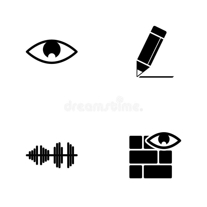 Gesetzte Netzikonen der Vektorillustration Elemente ummauern und mustern, Audiowellen-, Bleistift- und Augenikone vektor abbildung