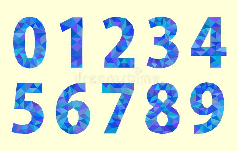 Gesetzte niedrige Polystellen nummeriert mit einer roten Tönung vektor abbildung