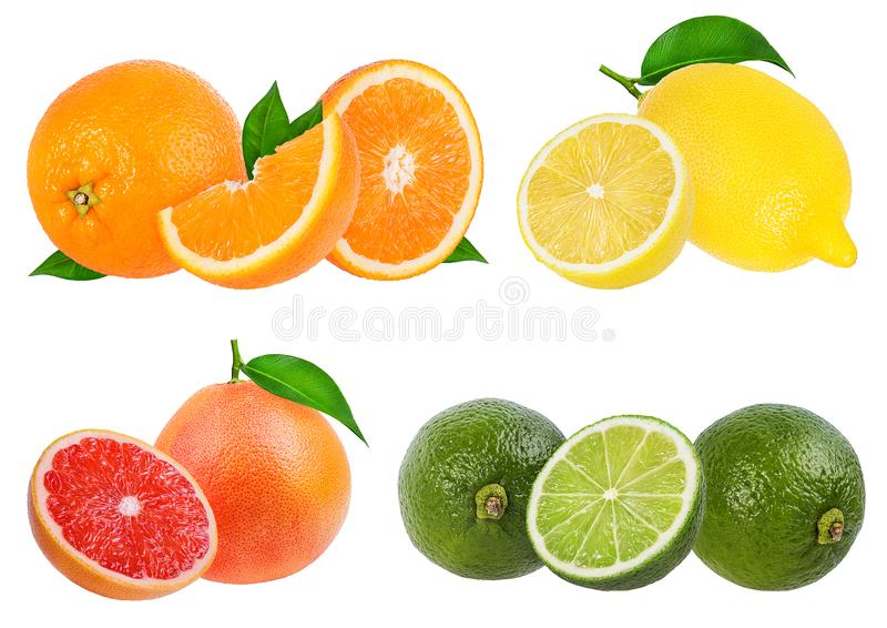 Gesetzte Orange der Zitrusfrucht, Pampelmuse, Kalk, Zitrone lokalisiert stockbild