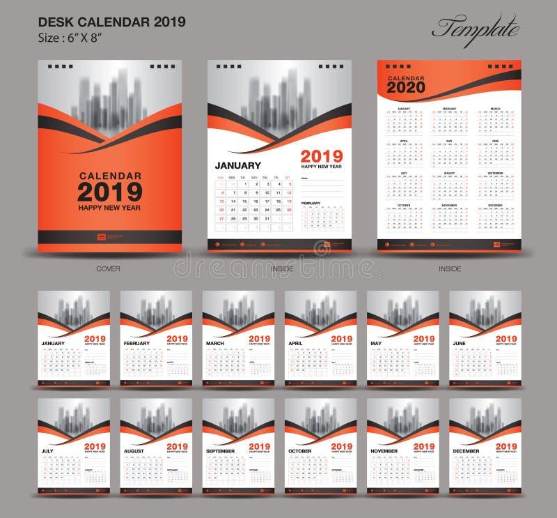 Gesetzte orange 2019-jährige Größe des Tischkalenders eine 6 x 8-Zoll-Schablone, Satz von 12 Monaten, Woche beginnt Montag vektor abbildung