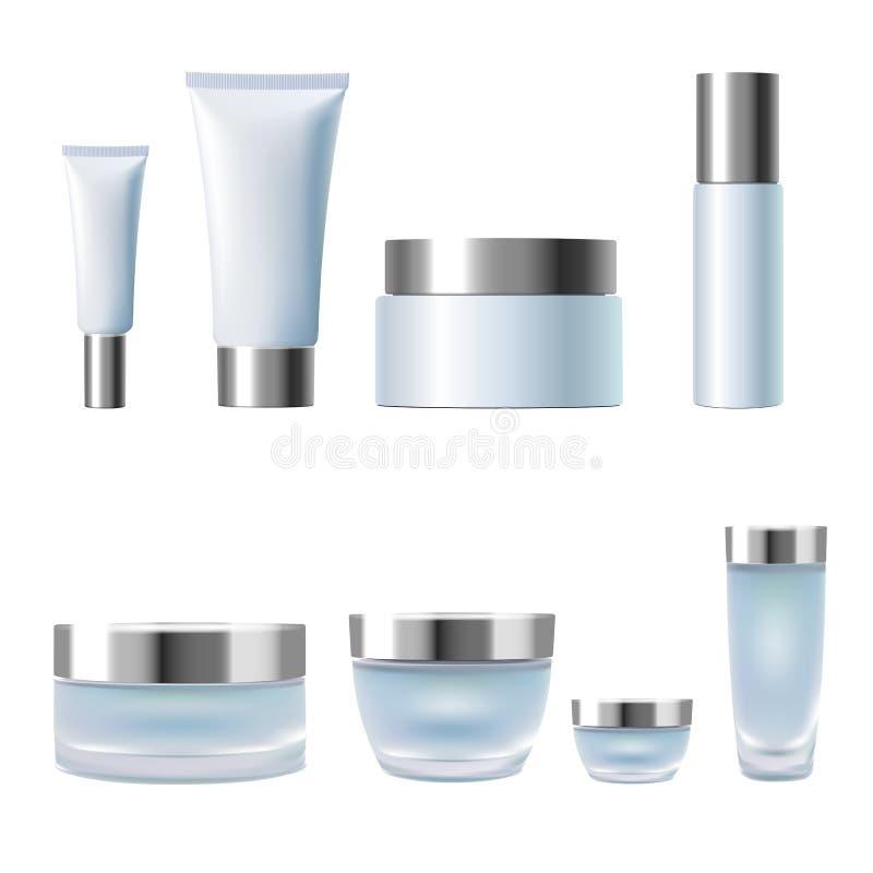 Gesetzte realistische kosmetische Cremetiegelrohre des Pakets 3d Glasplastik der hellblauen silbernen metallischen Behälter lokal lizenzfreie abbildung