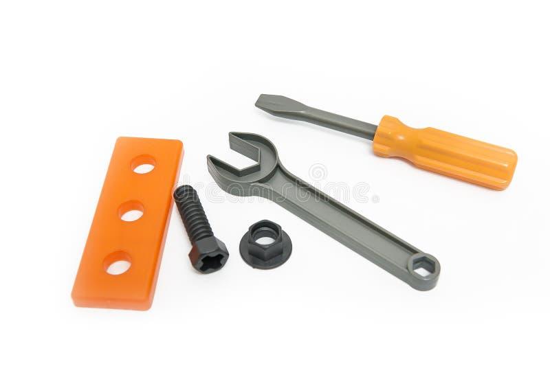 Gesetzte Reparaturwerkzeuge des Spielzeugs stockbilder