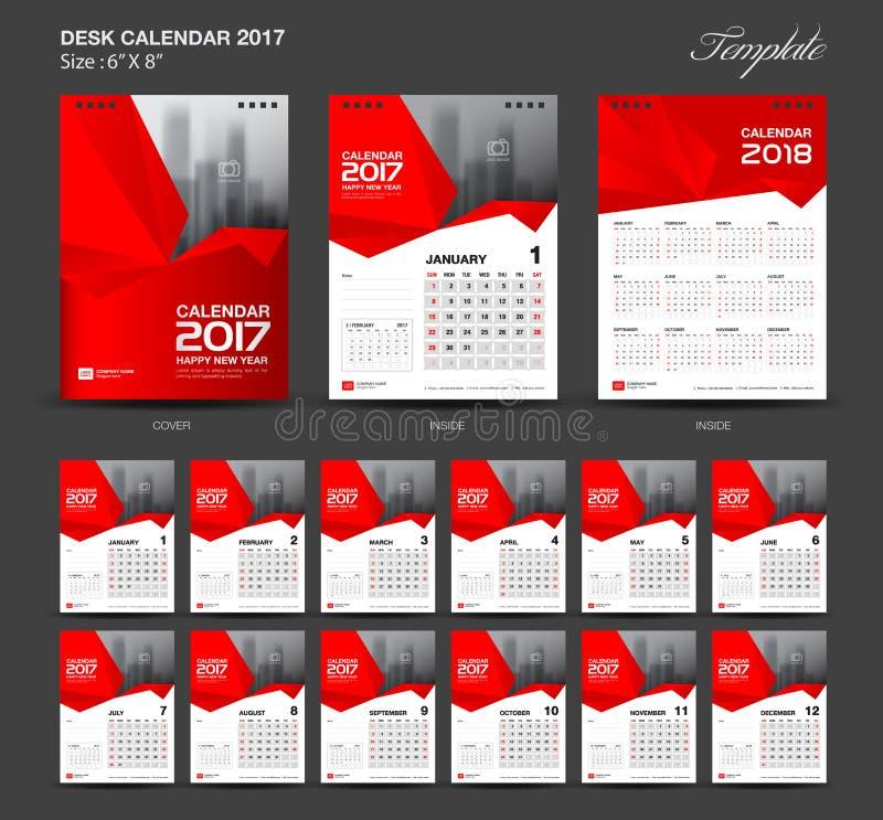 Gesetzte rote 2017-jährige Größe des Tischkalenders 6 x 8-Zoll-Schablone stock abbildung
