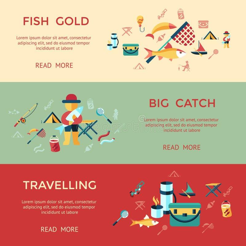 Gesetzte Sammlung der Digital-Fischereitätigkeit lizenzfreie abbildung