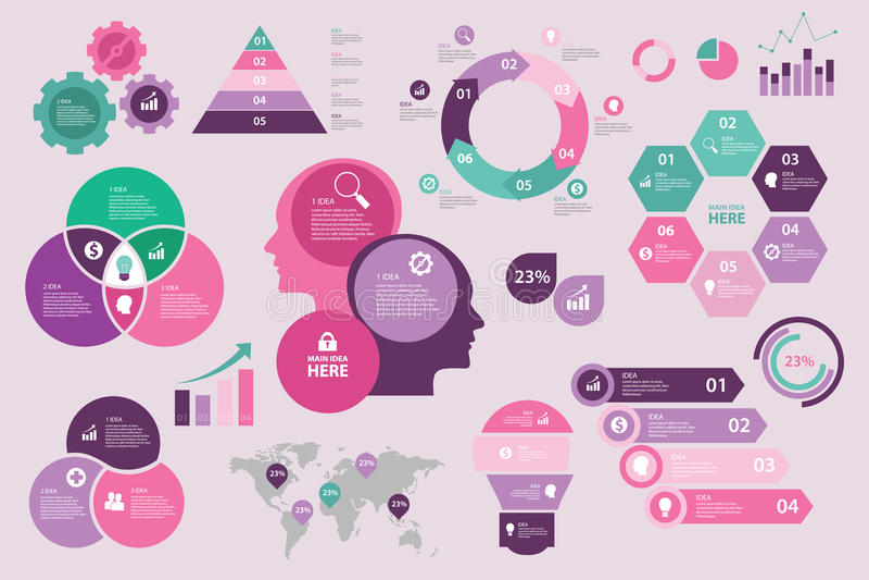Gesetzte Sammlung Infographic-Designs purpurroter rosa tosca ENV Vektor vektor abbildung