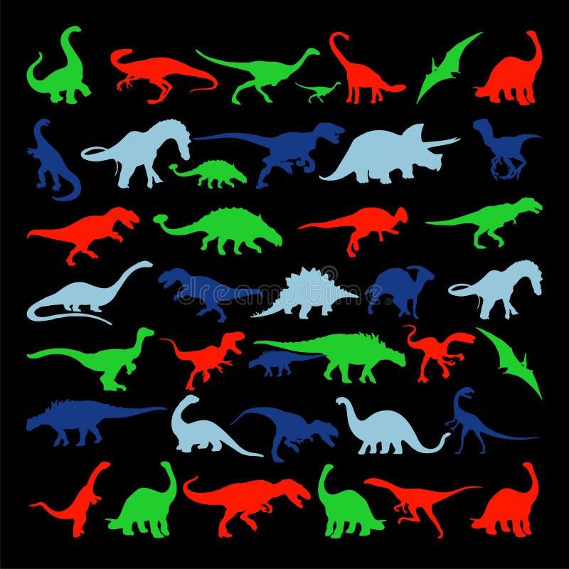 Gesetzte Schattenbilder des Vektors des Dinosauriers lizenzfreie abbildung