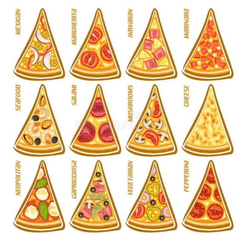 Gesetzte Scheiben des Vektors der italienischen Pizza lizenzfreie abbildung