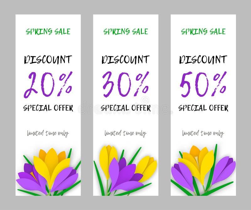 Gesetzte schmale Blumenapplikationsfahnen-Papierblumenkrokusse lizenzfreie abbildung