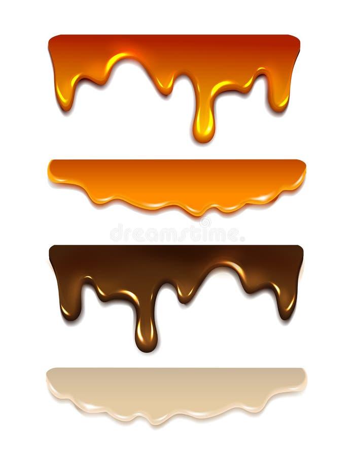 Gesetzte schmelzende Schokolade, Milchcreme, flüssiges Karamell, lizenzfreie stockfotos