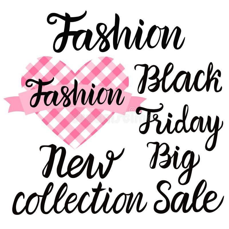Gesetzte schwarze Beschriftungsaufschrift des Vektors Neue Sammlung Mode-großer Verkaufs-Black Fridays vektor abbildung
