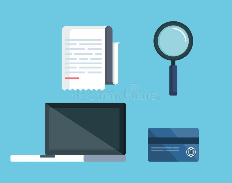 Gesetzte Service-Steuer mit Laptop und Kreditkarte stock abbildung