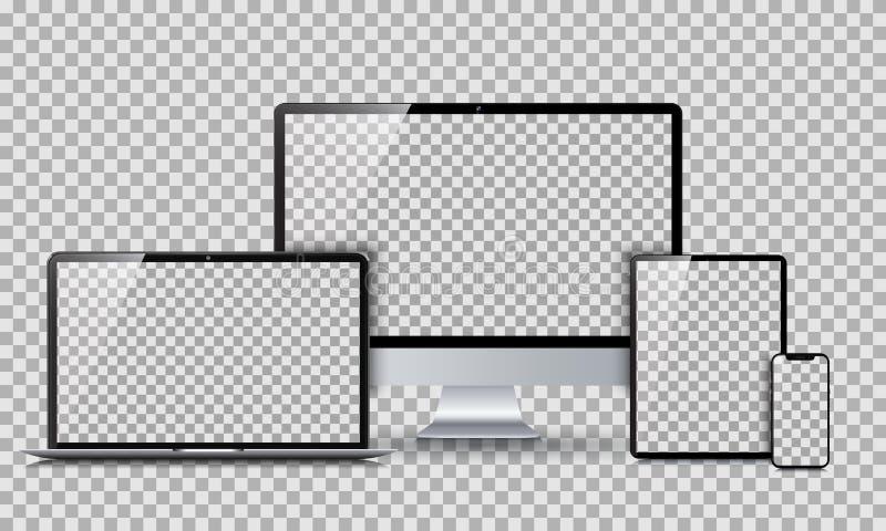 Gesetzte Technologiegeräte mit leerer Anzeige - für Vorrat stock abbildung