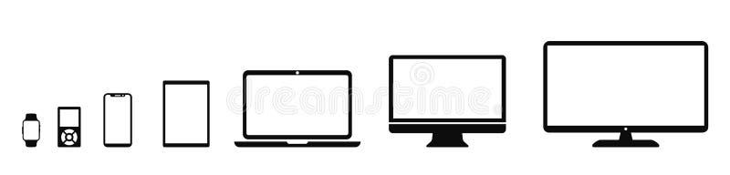 Gesetzte Technologiegerätikone: Fernsehen, Computer, Laptop, Tablette, Smartphone, MP3-Player, smartwatch Ikonen für Web-Entwickl lizenzfreie abbildung
