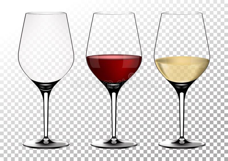 Gesetzte transparente Vektorweingläser leeren sich, mit weißem und Rotwein Vektor-Illustration in der photorealistic Art stock abbildung
