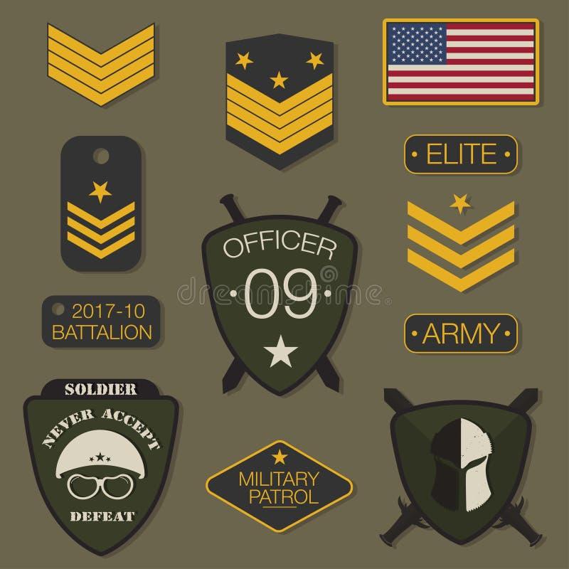 Gesetzte Typografie des Militärarmeeausweises T-Shirt Grafiken Armeeflecken, Sparren, Stift stock abbildung
