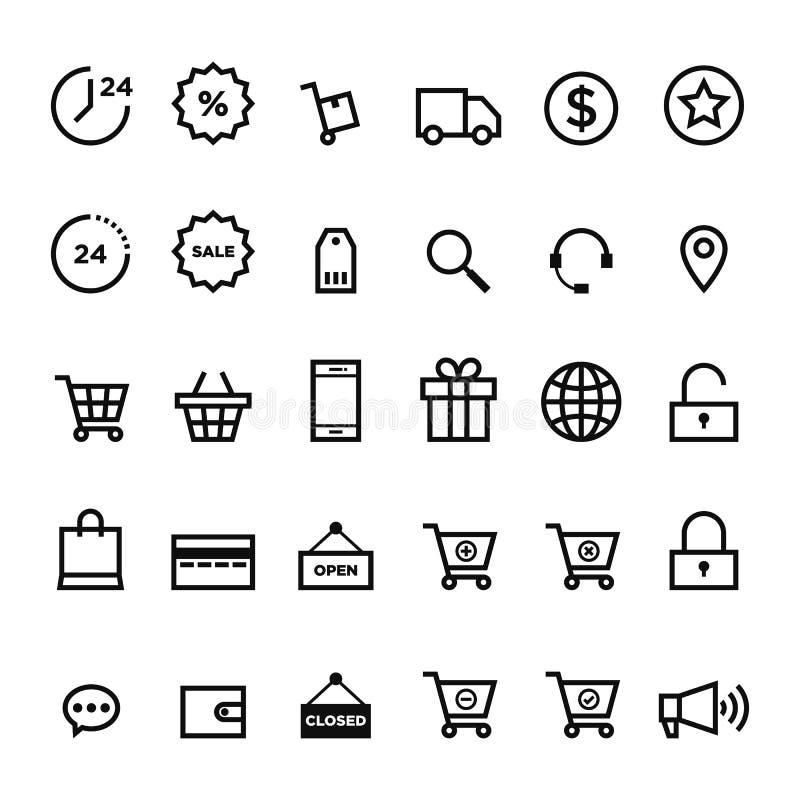 Gesetzte Vektorillustration der E-Commerce-Entwurfsikone lizenzfreie abbildung