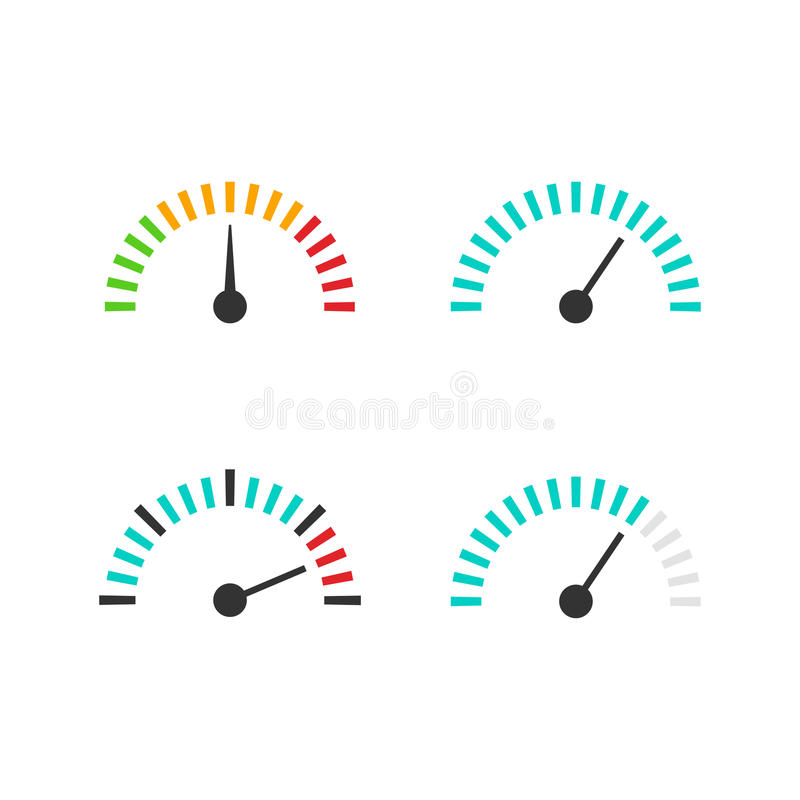 Gesetzte Vektorillustration der Geschwindigkeitsmesserikone, Geschwindigkeitsregelungsmaßelement stock abbildung
