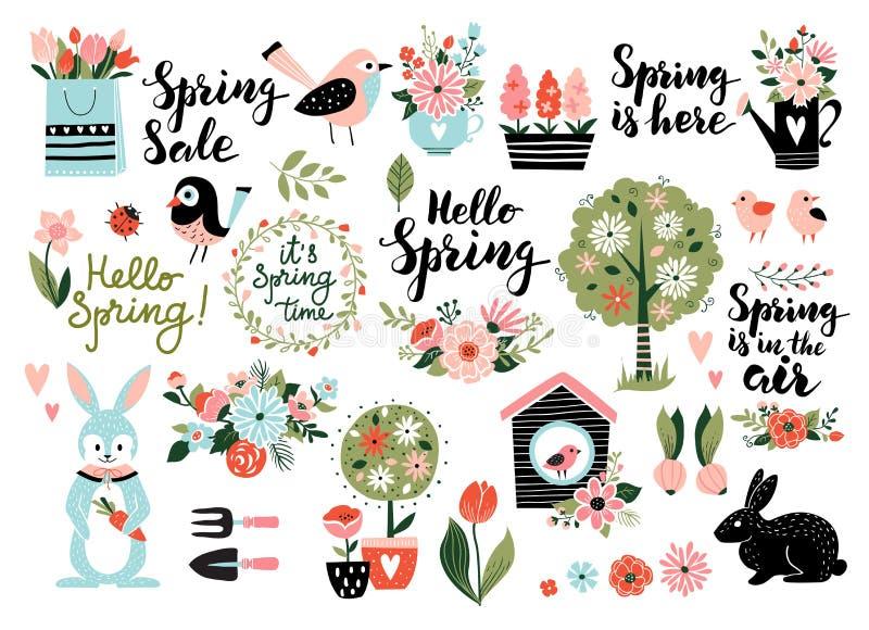 Gesetzte Vektorillustration des Frühlinges stock abbildung