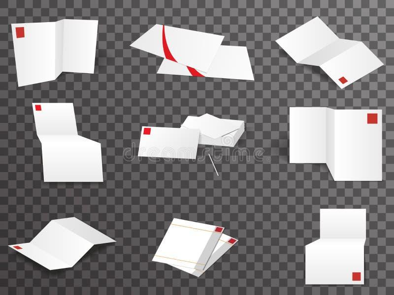 Gesetzte verschiedene Ansichten der Weißbuchschablone verspotten herauf Designvektorillustration vektor abbildung