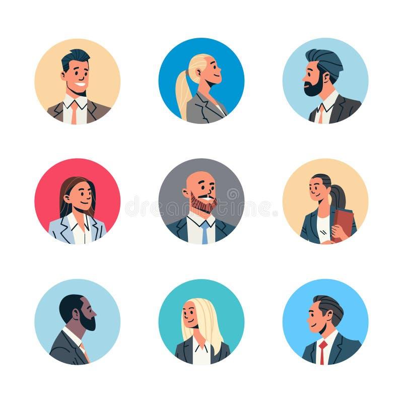 Gesetzte verschiedene Geschäftsleute weibliche männliche Karikatur des Avataramannfrauengesichtsprofilikonenkonzepton-line-Beista lizenzfreie abbildung