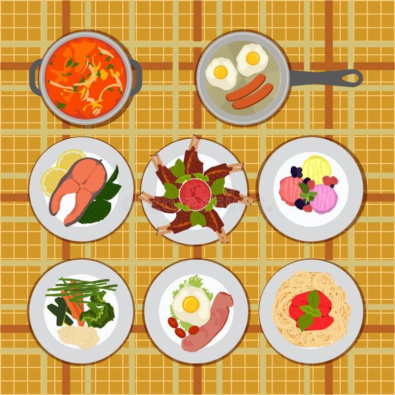 gesetzte verschiedene Platten des Lebensmittels stock abbildung