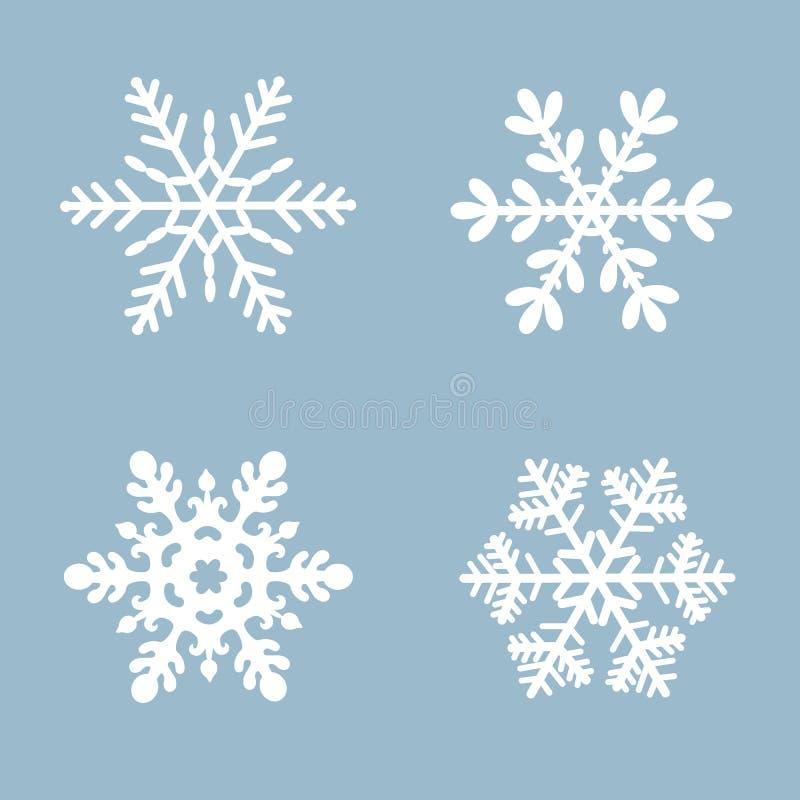 Gesetzte weiße Farbe des Schneeflockenvektorikonen-Hintergrundes Flaches Kristallelement des blauen Schnees des Winters Weihnacht vektor abbildung