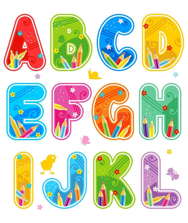 Gesetzte Zeichen A - L des Alphabetes stock abbildung