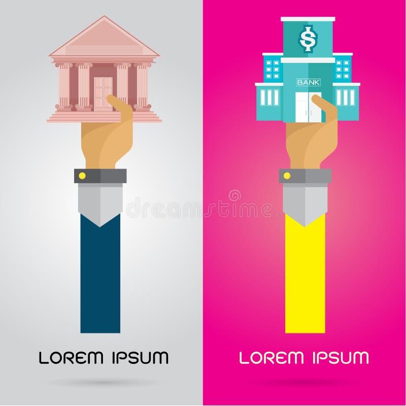 Gesetzter Arm und Hand der modernen Ikone des VektorBankgebäudes lizenzfreie abbildung