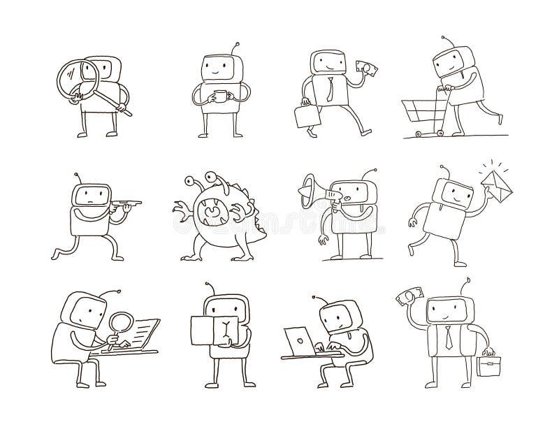 Gesetzter ausländischer Charakter des Skizzenroboters mit Geschäftspost-Suchgeld Verschiedene Situationen Hand gezeichnete schwar vektor abbildung