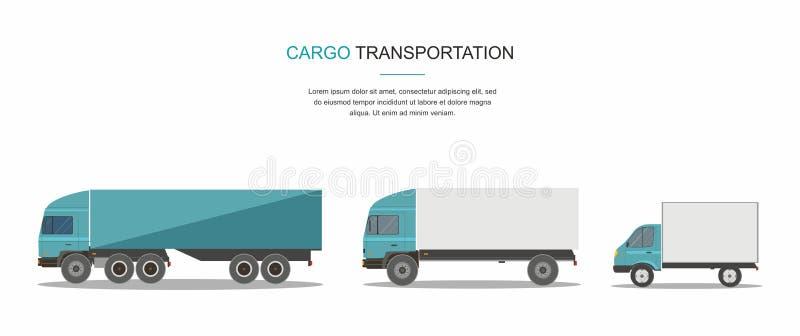 Gesetzter blauer Fracht-Lieferwagen lokalisiert auf weißem Hintergrund vektor abbildung